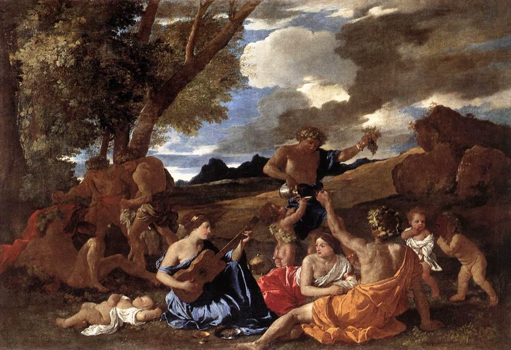 Classical Painting - Bacchanaal: The Andrians by Nicolas Poussin ca. 1630.